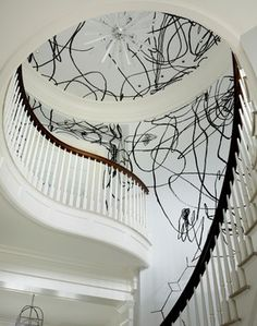 New Canaan Modern transitional-staircase -- interior design by Anthony Baratta