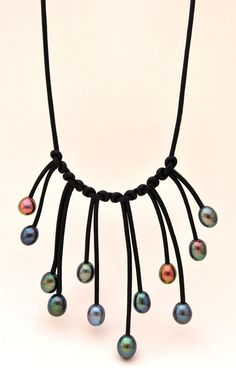 Pearl and Leather Droplet Necklace - Pearl and Leather Jewelry Collection