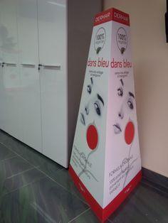 Totem a tre lati in cartone_totalmente personalizzato Cliente: Dermar Cosmeceutica  #pubblicitàlternativa