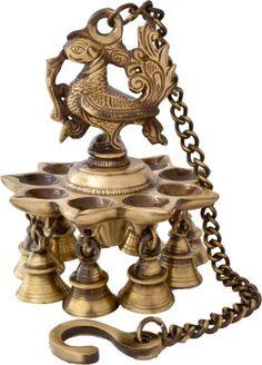 Handecor Peacock Deepak With Bells and Chain Brass Hanging Diya Price in India - Buy Handecor Peacock Deepak With Bells and Chain Brass Hanging Diya online at Flipkart.com