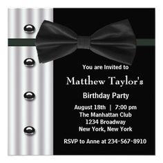 Black Tuxedo Bow Tie Mens Birthday Party Invitatio Custom Announcement 60th Invitations 70th