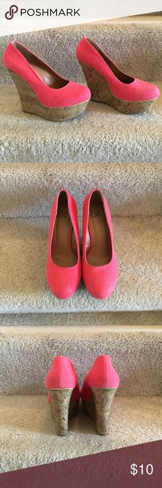 Coral closed toe wedges Coral pink cork wedge. Worn twice Shoes Wedges
