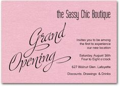 Business Invitations: Grand Opening Invitations on Shimmery Pink Paper and matching envelopes from Announcingit.com