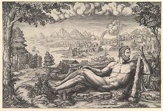 Hercules Resting from His Labors Artist: Engraved by Giorgio Ghisi (Italian, Mantua ca. 1520–1582 Mantua) Artist: After Giulio Romano (Italian, Rome 1499?–1546 Mantua) Date: 1567 Medium: Engraving