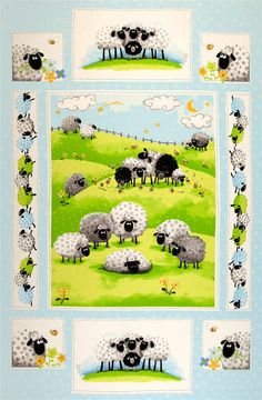 Lewe the Ewe Fabric SB Flowers Bees Sheep Lambs Springtime Panel Nursery Whimsy. $10.00, via Etsy.