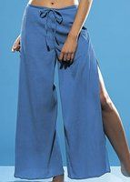Skirts 'N Scarves Women's Embroidered Rayon Wrap / Palazzo Pant (Teal Blue) at Amazon Women's Clothing store: