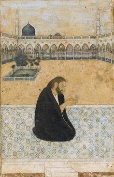 An illustration of the Sufi Saint Mian Mir praying at Medina, India, century Mughal Miniature Paintings, Mughal Paintings, Islamic Paintings, Islamic World, Islamic Art, Sufi Saints, India Art, Pilgrimage, Les Oeuvres