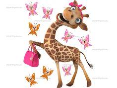 Wallstickers Børn Giraf & Sommerfugle