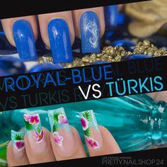 #royal   #blue   #turquoise   #aqua   #nails   #nailart   Royal vs. Türkis. Die Aqua-Farbtöne des Sommers passen nicht nur perfekt zusammen, sondern machen auch solo eine spitzen Figur! Ich liebe alle beide - welcher ist Euer Favorit? Eure Martina
