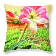 Amaryllis Throw Pillow featuring the photograph Glowing Amaryllis by Kay Brewer