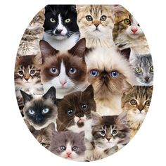 cat toilet seats | Toilet Tattoos Toilet Seat Cover - Cats Cats Cats - Round ...