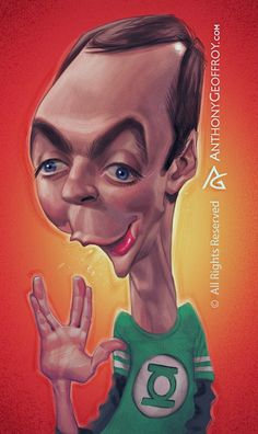 Jim Parsons as Sheldon Cooper in Big Bang Theory by Anthony Geoffroy Animated Cartoon Characters, Cartoon Faces, Funny Faces, Cartoon Art, The Big Theory, Big Bang Theory, Caricature Artist, Caricature Drawing, Funny Caricatures