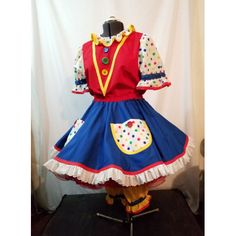 Stock Plus size clown dress and bloomers primary. Pricilla Mooseburger Originals has been making professional clown costumes and clown supplies since Girl Clown Costume, Clown Dress, Clown Wig, Clown Costumes, Funky Outfits, Colourful Outfits, Cool Outfits, Baby Pizza, Royal Blue Skirts
