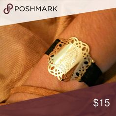 18k gold plated Guadalupana black bracelet With organza elastic ribbon, so fits any size. Jewelry Bracelets