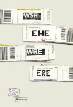 A brilliant advertising campaign using the three letter airport codes from luggage tags to create a humorous wordplay. Expedia.co.uk