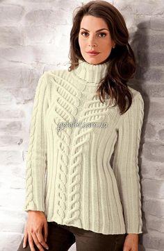 Эффектный свитер со жгутами из Junghans-Wolle. Описание, схемы вязания