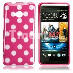 Dot TPU Case for HTC One M7 Rose Bottom White Dot,$2.89