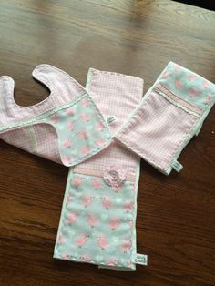 SOLD - Three-piece baby burp cloth and bib in soft flannel and cotton. See more designs at OliviaLawsonDesigns.etsy.com