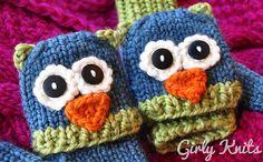 "Ravelry: ""Smitten Mittens"" Fingerless Owl and Cat Animal Mittens pattern by Lauren Riker"