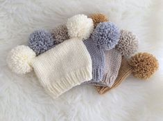 Baby pom pom pompom hats – neutral newborn sitter photography prop unisex boy girl baby shower gift cream silver grey tan white beige vegan – Knitting patterns, knitting designs, knitting for beginners. Pom Pom Hat, Pom Poms, Baby Knitting, Crochet Baby, Baby Hut, Photography Props, Newborn Photography, Fall Photography, White Beige