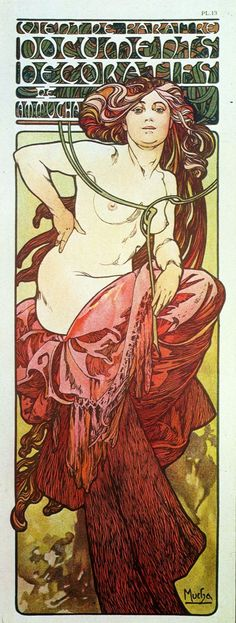 Woman advertising Documents Decoratifs, from Documents Decoratifs by Alphonse Mucha and published by Librairie Centrale des Beaux Arts. Art Nouveau Mucha, Alphonse Mucha Art, Art Nouveau Poster, Art Deco Posters, Vintage Posters, Belle Epoque, Eslava, Design Art Nouveau, Art Nouveau Illustration