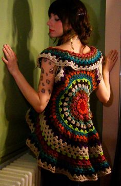 crochet granny, crochet dresses, pattern, color, circl, diy gift, crochet vests, yarn, mandala