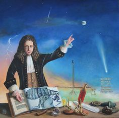 Hooke memorial portrait for The Open University.One of a series of memorials.The sky represents his astronomy interests with one of his large telescopes.Spread in front of him are his book 'Micrographia',microscope, spring,meteorites etc. Physics Topics, Robert Hooke, Chinese Proverbs, Macro And Micro, Isaac Newton, Build Your Own, More Pictures, Astronomy, Portrait
