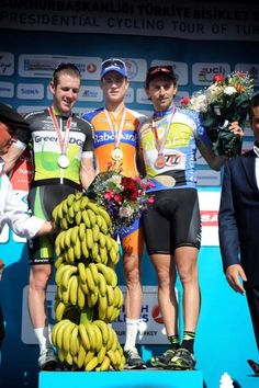 Tour of Turkey stage 1 podium. Hope he likes bananas. Road Cycling, Bananas, Stage, Turkey, Turkey Country, Banana, Fanny Pack