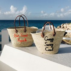"""Custom embroidered """"But First Tequila"""" and """"Crazy Sexy Cool"""" Poolside Bags Straw Beach Tote in Anguilla"""