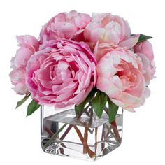 Diane James Pink Champagne Peonies - Transitional - Artificial Flower Arrangements - by Diane James Home White Peonies Bouquet, Pink Flower Bouquet, Silk Peonies, Peony Flower, Purple Bouquets, Fake Flowers, Artificial Flowers, Silk Flowers, Beautiful Flowers