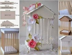 How to make decorative cage / Culinary UniverseWhat a lovely vintage thing!Discover recipes, home ideas, style inspiration and other ideas to try.Cardboard,bbq sticks, and sytrafome☆ home cherry ☾: Diy & Craft Kids Crafts, Diy And Crafts, Arts And Crafts, Paper Crafts, Diys, Diy Y Manualidades, Ideas Para Fiestas, Bird Cages, Diy Décoration