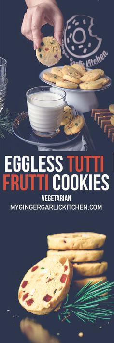 Eggless Tutti Frutti Cookies Recipe — Karachi Biscuit Recipe are one of the most crowd-pleasing tea time biscuits in India. These eggless tutti frutti cookies are full of colorful and splashy tutti frutti. Don't the colorful candied fruits look like tiny jewels? From: mygingergarlickitchen.com #Cookies #Eggless #Vegetarin #Tuttifrutti #Indiancuisine #Baking #Teatime #Brunch #Snacks
