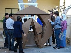 Cardborigami is made from a cheap, recyclable, sustainable, self-insulated, and structural material that becomes a portable, flexible, lightweight, structural skin and enclosure.