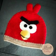 Angry birds crochet hat.