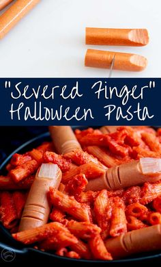 This fun Halloween dinner is sure to be a hit with the kids! Severed Finger Pasta is spooky and gross and just perfect for Halloween meal. Halloween Dinner, Halloween Food For Party, Easy Halloween, Gross Halloween Foods, Halloween Meals, Halloween Baking, Healthy Crockpot Recipes, Quick Recipes, Red Sauce