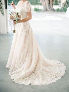 Lace embroidered ivory chiffon wedding dress: http://www.stylemepretty.com/little-black-book-blog/2016/02/11/intimate-sweet-lombardi-house-summer-wedding/ | Photography: Steve Steinhardt - http://www.stevesteinhardt.com/