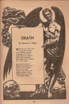 "Death Famous Fantastic Mysteries, October 1947 Hannes Bok Interior illustration supporting ""Death,"" a poem by Clerence E. Flynn Famous Fantastic Mysteries, October 1947 Hannes Bok Interior illustration supporting ""Death,"" a poem by Clerence E. Poetry Quotes, Me Quotes, Life Death Quotes, Poem About Death, Quotes About Death, Caste Heaven, La Danse Macabre, Ange Demon, Feelings"