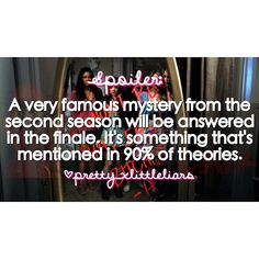 A very famous mystery from the second season will be answered in the finale. It's something that's mentioned in 90% of our theories.  Any ideas?  #pll #prettylittleliars #summerofanswers #gameoncharles #ohbrotherwhereartthou #whoisCharles #whoisA #CharlesisA #alisondilaurentis #hannamarin #emilyfields #spencerhastings #ariamontgomery #monavanderwaal #pllspoilers #plltheories #prettylittleliarsspoilers #prettylittleliarstheories #pllfans #prettylittleliarfans #spoby #ezria #haleb #emison…