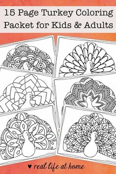 Looking for more intricate Thanksgiving coloring pages? Enjoy this free printable Thanksgiving coloring book filled with 15 turkey coloring pages for kids and adults. #TurkeyColoringPages #ThanksgivingColoringPages Free Thanksgiving Coloring Pages, Turkey Coloring Pages, Thanksgiving Activities For Kids, Halloween Coloring Pages, Cool Coloring Pages, Mandala Coloring Pages, Free Printable Coloring Pages, Coloring Books, Thanksgiving Crafts