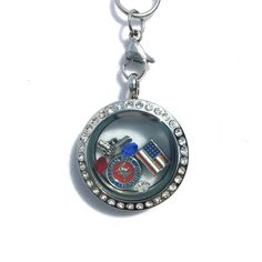 Medium Stainless Steel Silver Gun Lovers Glass Floating Charm Locket Necklace #P2DreamLockets