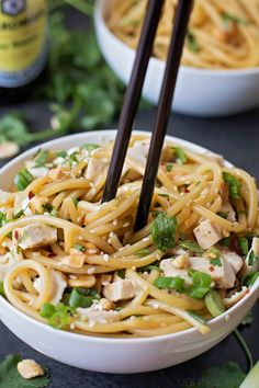 Sesame Soy Noodle Bowls (with chicken)