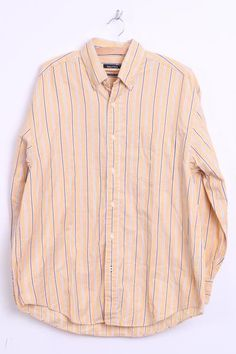 Nautica Mens L Casual Shirt Striped Yellow 80s Two-Ply Cotton Washed Look - RetrospectClothes