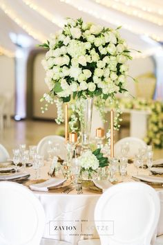 White roses, orchids mass arrangements, rose gold candles All White Wedding, Green Wedding, Wedding Flowers, Rose Gold Candle, Gold Candles, Event Company, White Roses, Orchids, Wedding Planner