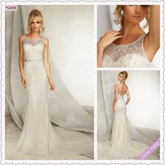 High Quality Water Soluble Lace Applique Drop Waist Wedding Dress with Buttons over Zipper Back Pearl Beaded Beach Bridal Gown-in Wedding Dresses from Apparel  Accessories on Aliexpress.com $199.00