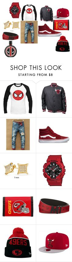 """all of the above is red"" by aandre-va on Polyvore featuring Vans, Bling Jewelry, G-Shock, Rico Industries, MCM, New Era, Marvel, men's fashion and menswear"