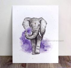 Art print of my original watercolor painting of an elephant in purple stardust.  Print is size 8x10 (send me a message if interested in a different size!)  Each print is embellished with hand-painted metallic-gold detailing to match the original.