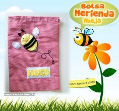"""Bolsa de merienda """"abeja"""".  Personalizala con el nombre del niño.  www.kierokekos.es"""