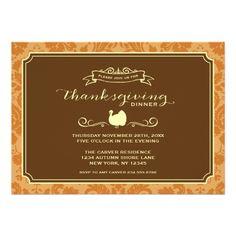 ELEGANT VINTAGE DAMASK THANKSGIVING DINNER PARTY INVITE #ThanksGiving #Home #Decor ༺༺  ❤ ℭƘ ༻༻