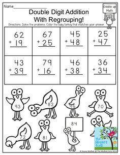 2-Digit Addition with Regrouping- Solve the problems and color the sums with an odd number to help the baby turkeys get home. Learning made FUN!