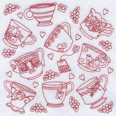 Teacup Medley (Redwork)